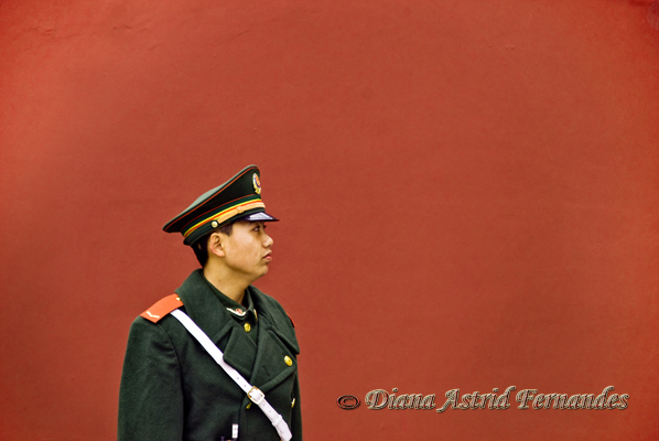 China-Soldier-against-red-wall-Forbidden-City-China